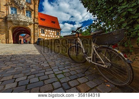 Bamberg, Germany - September 23, 2014: Bamberg City In Germany. Town Hall Building In Background Wit