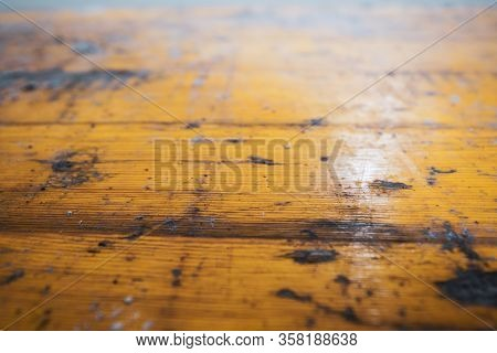 Old wooden texture. Rustic yellow wood background with texture in close up