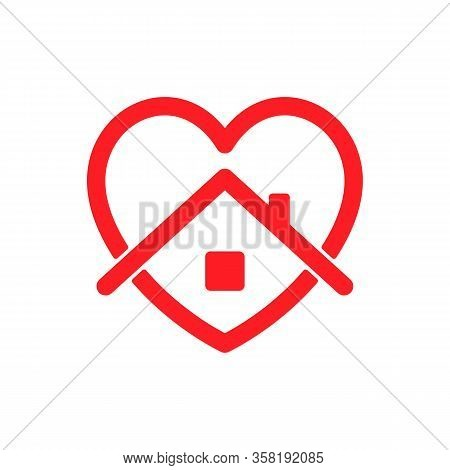 Vector Icon Stay Home Isolated On White Background. Stay Home Concept With Heart And House. Coronavi