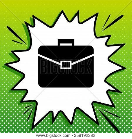 Briefcase Sign Illustration. Black Icon On White Popart Splash At Green Background With White Spots.