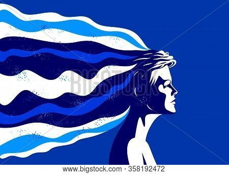 Woman Profile With Abstract Fluid Shapes In Motion From His Head Vector Illustration, Mindfulness Ph