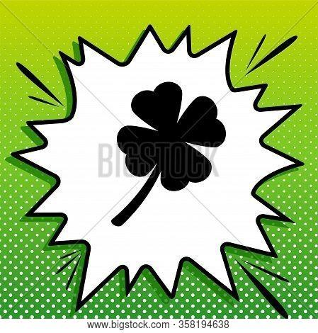 Leaf Clover Sign. Black Icon On White Popart Splash At Green Background With White Spots. Illustrati