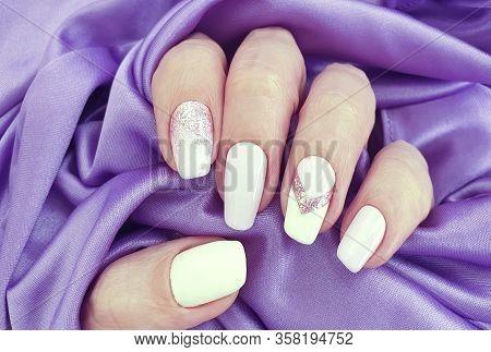 Female Hand Nails Beautiful Manicure Silk  Texture