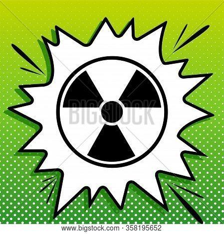 Radiation Round Sign. Black Icon On White Popart Splash At Green Background With White Spots. Illust
