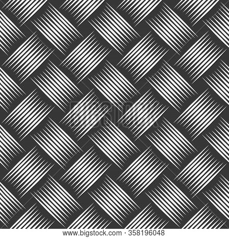 Weave Seamless Pattern, Vector Linear Background With Woven Texture, Textile Knitted Repeat Tiling ,