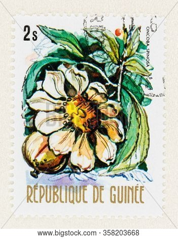 Seattle Washington - March 27, 2020: Close Up Of Used Republic Of Guinee Postage Stamp Featuring Onc