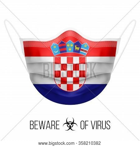 Medical Mask With National Flag Of Croatia As Icon On White. Protective Mask Virus And Flu. Surgery