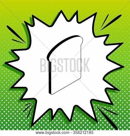 Bread Slices Sign. Black Icon On White Popart Splash At Green Background With White Spots. Illustrat