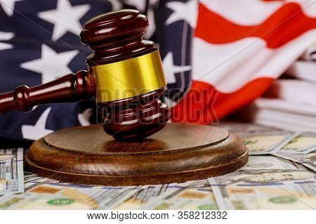 Wooden Judge Gavel And Usa Flag On Law Judge Table Documents With Desk