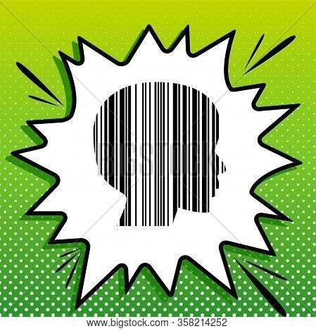Face Barcode Sign. Black Icon On White Popart Splash At Green Background With White Spots. Illustrat