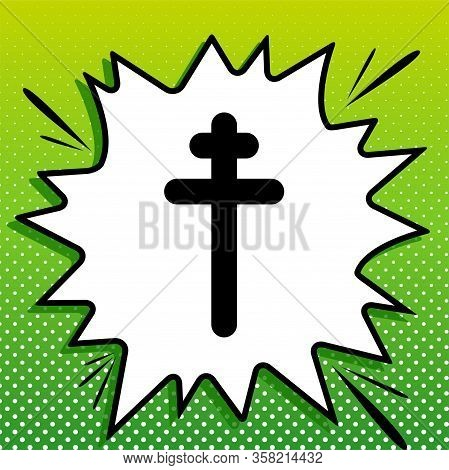 Cross Sign. Black Icon On White Popart Splash At Green Background With White Spots. Illustration.