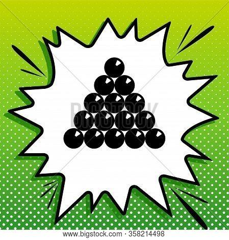 The Billiard Sign. Black Icon On White Popart Splash At Green Background With White Spots. Illustrat
