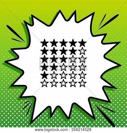 5 Star Rating Sign. Black Icon On White Popart Splash At Green Background With White Spots. Illustra