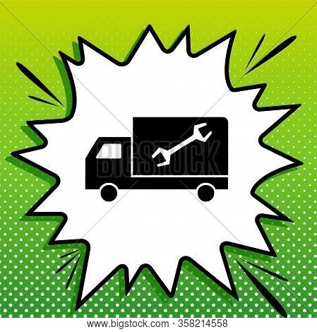 Service Sign. Black Icon On White Popart Splash At Green Background With White Spots. Illustration.