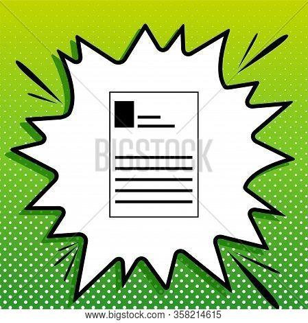 Application Sign. Black Icon On White Popart Splash At Green Background With White Spots. Illustrati