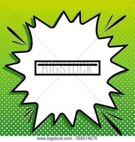 Usb Port Sign. Black Icon On White Popart Splash At Green Background With White Spots. Illustration.