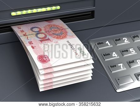 Withdrawal Chinese Yuan From The Atm 3d Rendering