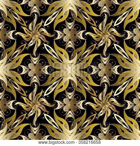 Beautiful Ornamental Gold Baroque 3d Seamless Pattern. Vector Patterned Floral Background. Vintage V