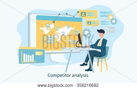 Illustrated Competitor Analysis Concept And Man On Laptop With Various Graphs And Measures. Vector I