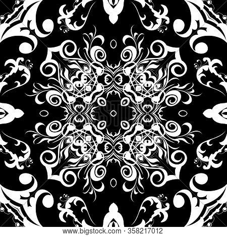 Black And White Baroque Seamless Pattern. Monochrome Ornamental Floral Background. Repeat Damask Bac