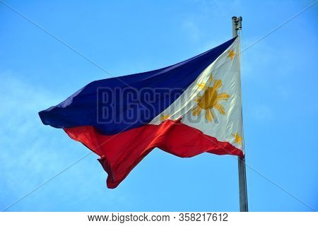 Manila, Ph - July 6: National Flag Of The Philippines In Rizal Park On July 6, 2016. The Philippine