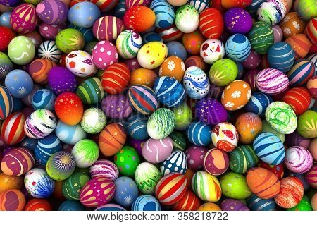 Painted Easter Eggs (computer Generated Illustration) 3d Rendering