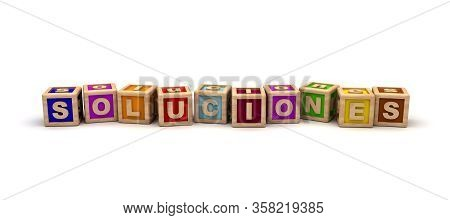 Soluciones Text Cube (isolated On White Background) 3d Rendering