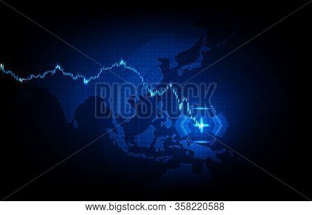 Abstract Background Of Futuristic Technology Blue Asia Pacific Maps And Economy Crisis Down Stock Ma