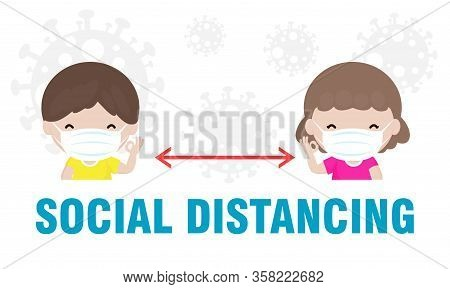 Coronavirus Prevention, Social Distancing, Boy And Girl Keeping Distance For Infection Risk And Dise