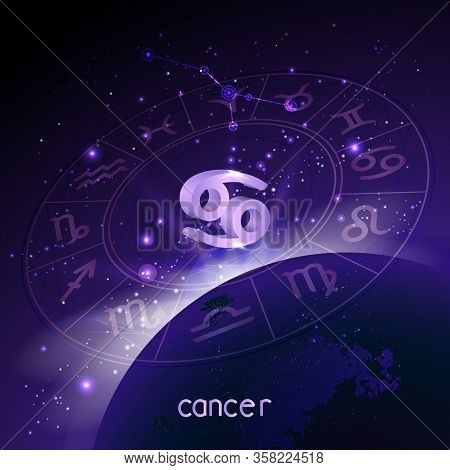 Vector Illustration Of 3d Sign And Constellation Cancer With Horoscope Circle In Perspective Against
