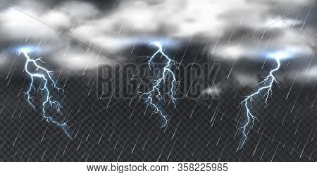 Realistic Storm. Heavy Clouds Thunder And Shower Rain On Transparent Background. Vector Illustration