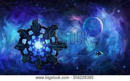 Artistic 3d Illustration Of An Extraterrestrial Aliens Invasion Spaceships Floating In Colorful Nebu