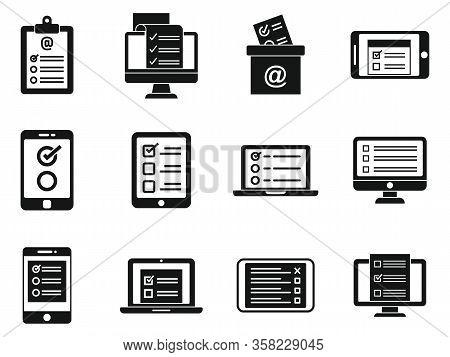 Online Survey Form Icons Set. Simple Set Of Online Survey Form Vector Icons For Web Design On White
