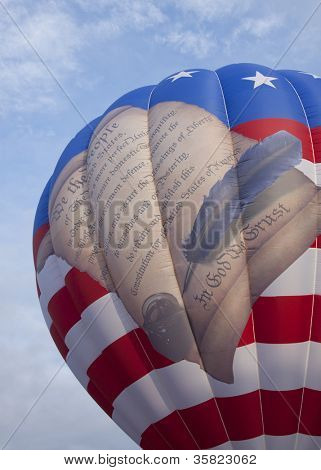 READINGTON, NJ-JUL 29: Preamble to the United States Constitution on the Freedom Flyer balloon hot air balloon at the Quick Chek New Jersey Festival of Ballooning on July 29, 2012 in Readington, NJ.