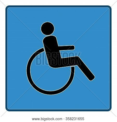 Disabled Sign In Blue Square. Mark Disability. Icon A Place Open Passage. Symbol Paralyzed And Human