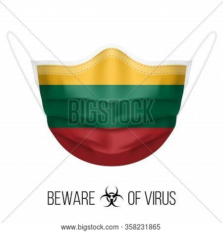 Medical Mask With National Flag Of Lithuania. Protective Mask Virus And Flu. Surgery Concept Of Heal