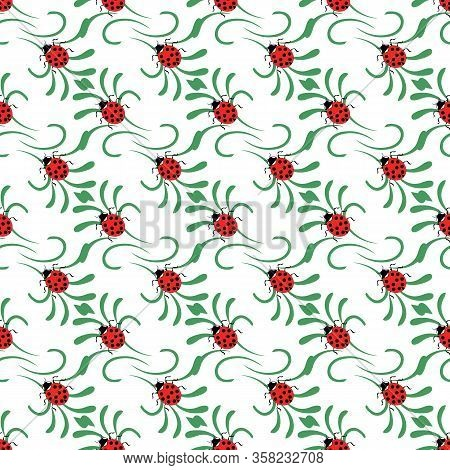 Ladybug On Green Flower Seamless Pattern. Fashion Graphic Background Design. Modern Stylish Abstract
