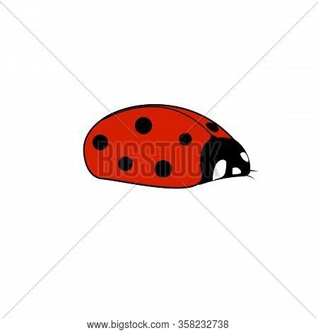 Ladybird Red Icon. Illustration Ladybug In Olive Square. Cute Colorful Sign Insect Symbol Spring, Su