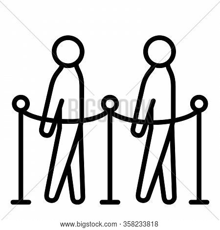 Physical Or Social Distancing Icon People In Queue With Modern Flat Line Icon Style Vector