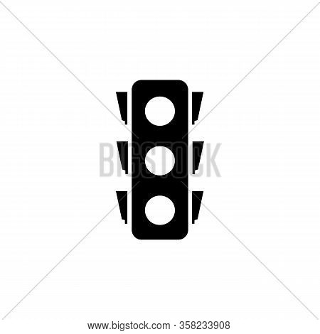 Stoplight Silhouette. Icon Traffic Light On White Background. Symbol Movement Safety And Warning. El