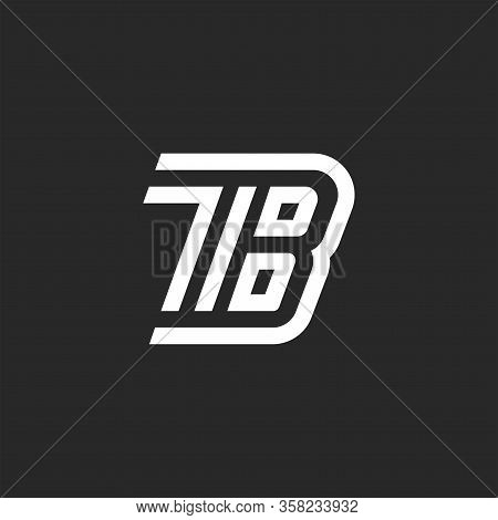 Initials Tb Letters Monogram, Two Letters T And B Creative Linear Creative Emblem, Sample Black And