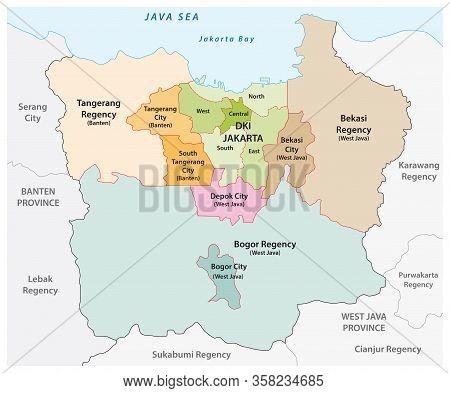Administrative Vector Map Of The Jakarta Metropolitan Area, The Most Populous Metropolitan Area In I