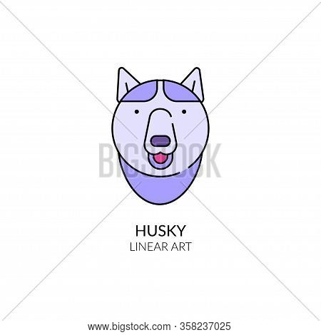 Husky Dog Muzzle Closeup. Vector Linear Illustration.