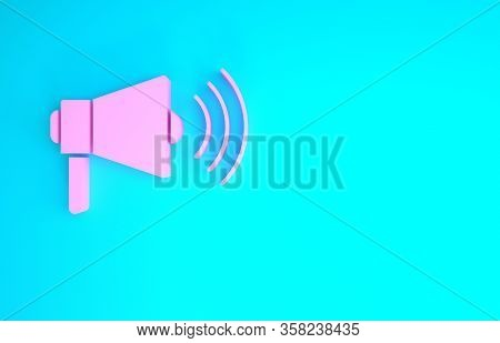 Pink Megaphone Icon Isolated On Blue Background. Loud Speach Alert Concept. Bullhorn For Mouthpiece