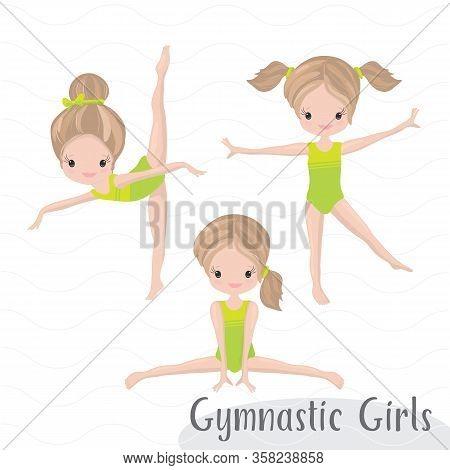 Clipart Cute Girl Gymnast Gym. Vector Illustration: Beautiful Cute Little Gymnast.