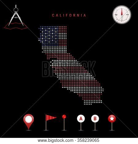 Dotted Map Of California Painted In The Colors Of The National Flag Of The United States. Waving Fla