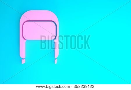 Pink Winter Hat With Ear Flaps Icon Isolated On Blue Background. Minimalism Concept. 3d Illustration