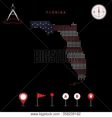 Dotted Map Of Florida Painted In The Colors Of The National Flag Of The United States. Waving Flag E