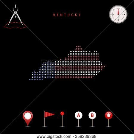 Dotted Map Of Kentucky Painted In The Colors Of The National Flag Of The United States. Waving Flag