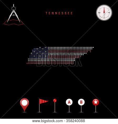 Dotted Map Of Tennessee Painted In The Colors Of The National Flag Of The United States. Waving Flag